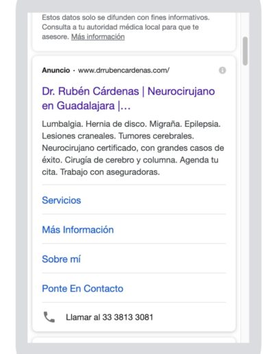 Anuncio de búsqueda. Medical Media, Marketing Médico